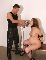 Leather bdsm play