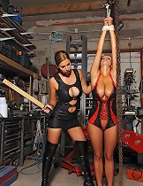 Horny lesbian babes Carol & bound Jannete spanking in latex