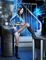 Model in blue latex