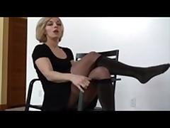 Foot Fetish #4 - Blonde Milf with Pantyhose sexy Legs