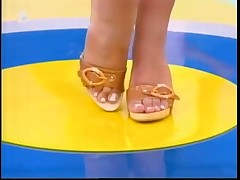 Woman in television show as a foot fetish