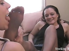 Office lesbian foot worshiping session