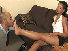 Foot Worship - Mistress Skin and her slave