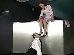 Foot worship at work!