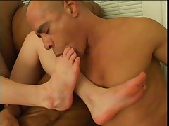 Hottie with foot fetish sucking cock