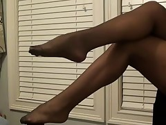 Foot Fetish Black Pantyhose