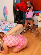 Mistress punish two female subs