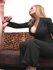Blonde dominatrix punished malesub