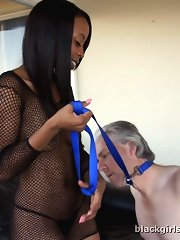 The black chick getting her hot ass and pussy licked by slave`s tongue