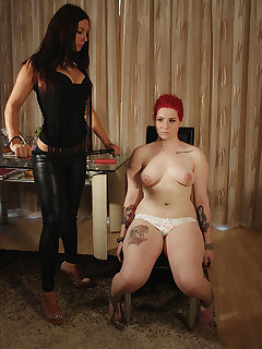 4 of Mistress Lyla Star painful whipping slave Lussy's tits