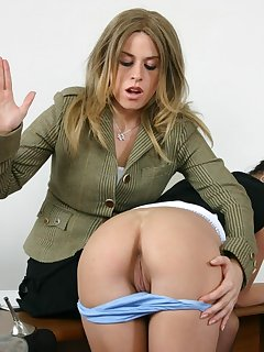 16 of Teen gets spanked by pretty blond haired teacher