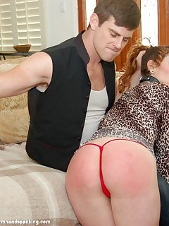 12 of Katya spanked long and hard over her lover's knee for cheating on him