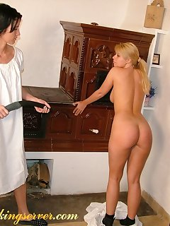 16 of Blonde and brunette spanking
