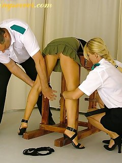 16 of Blonde babe strapped and punished