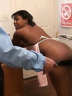 12 of Ebony maid gets paddled