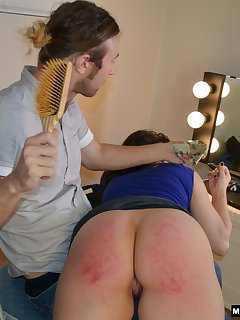 <!–-IMAGE_COUNT-–> of Hard spanking with hand and hairbrush