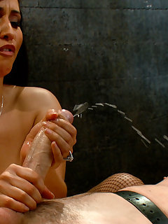 12 of Mistress bounds and pinches slave's cock before fucking him