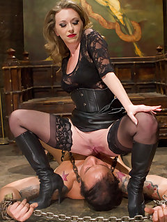 12 of The dominatrix wanked slave`s cock, got her boot liked and sitting on his face