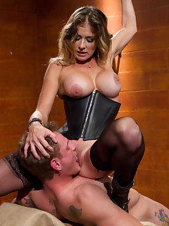 12 of Strict black leather domina wanked a man, fucked him and smohered