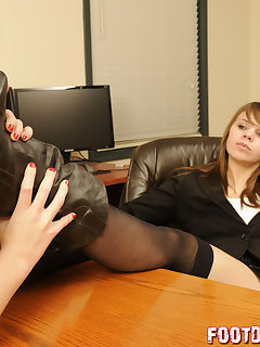 12 of Tessa makes office girl lick her boots to keep her job