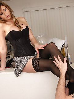12 of Heather sits on top and gets her sexy stockings worshipped