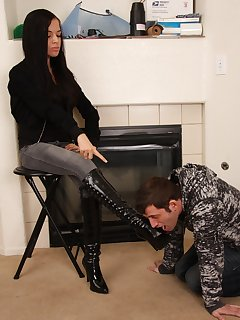 12 of Tiffany makes her boot stool lick her boots