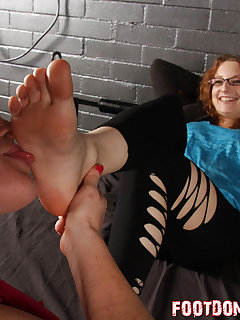 12 of Kat has her slave girl worship on her bare feet