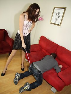 12 of Chastity gets greeted by slave with a kiss on her shoes