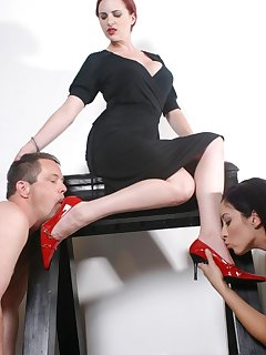 16 of Male and females slaves worship mistress` red heel and feet