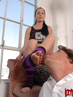 16 of A submissive male licks dirty feet