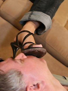 16 of Male licked dirty heels and got trampled