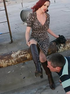 16 of Redhead domina got her boots licked by slave