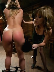 Aurora Snow is tied up, spanked, then ass fucked till she\'s gapping by sadistic domme Maitresse Madeline.