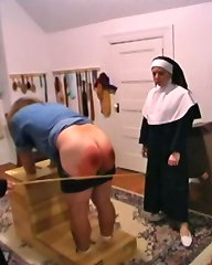 A smoking boy was hard spanked by a sister