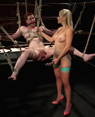 Ashley Fires fiercely dominates slaveboy with electrical CBT, evil ass pounding and the most excruciating ruined orgasm ever!