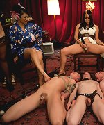 6 of the hottest and toughest dominatrixes ever demand worship and sexual service by three lucky slaveboys at Divine Bitches tea party LIVE event!