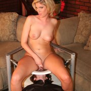 Blonde mistress with round ass sat on slave's face