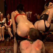 Six Mistresses torture male sub by hanging and pissing