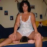 Big ass chick sat on slave