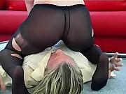 The pantyhosed slut Jill sitting on a man