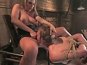 Mistress Harmony Rose Electrocutes and ass-fucks bitch boy