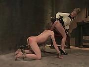 Gorgeous Dominatrix Cattle Prods slave and ass fucks him