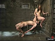 Deja Daire uses her newest dungeon slave until she is satisfied