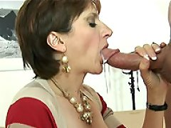 Lady gives handjob and gets cum to mouth