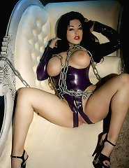 Fetish big tittied brunette wearing in latex