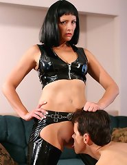 Pvc queen and asslicking slave
