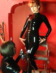 Mistress and her slavegirl wearing in black latex