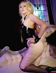Hot blonde in rubber