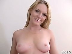 Blonde babe blowjobs and rubs tits on hard cock