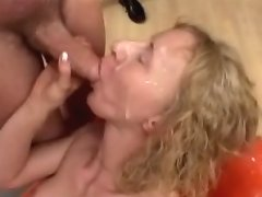 Blonde MILF sucks lots of jizz